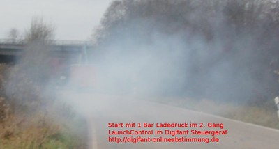 LaunchControl start with 1 bar / 15 psi boost in the 2. gear with street tires